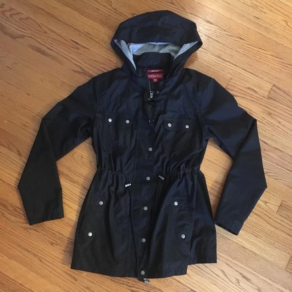 233044e4b Black Women's raincoat windbreaker with hood (M). M_5c58af32a5d7c6fbcd0d92b7